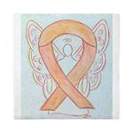 Peach Awareness Ribbon Angel Queen Duvet