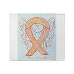 Peach Awareness Ribbon Angel Throw Blanket