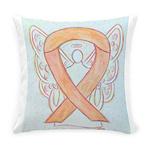 Peach Awareness Ribbon Angel Everyday Pillow