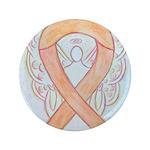 Peach Awareness Ribbon Angel Button