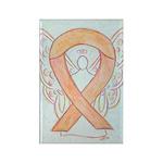 Peach Awareness Ribbon Angel Art Magnets -10 Pack