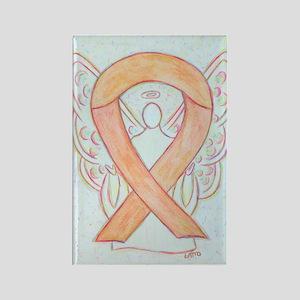 Peach Awareness Ribbon Angel Art Rectangle Magnets