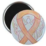 Peach Awareness Ribbon Angel Magnets