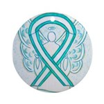 Cervical Cancer Awareness Ribbon Ornament (Round)