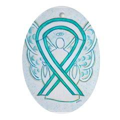 Cervical Cancer Awareness Ribbon Ornament (Oval)