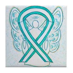 Cervical Cancer Awareness Ribbon Tile Coaster