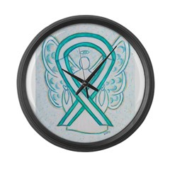 Cervical Cancer Awareness Ribbon Large Wall Clock