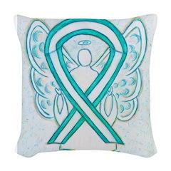 Cervical Cancer Awareness Ribbon Woven Throw Pillo