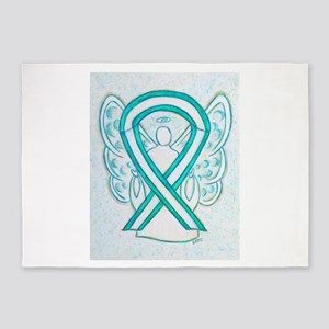 Cervical Cancer Awareness Ribbon 5'x7'Area Rug
