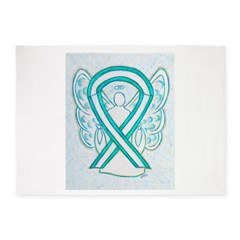Cervical Cancer Awareness Ribbon 5'x7'Area Rug