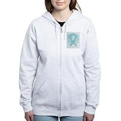 Cervical Cancer Awareness Ribbon Zip Hoodie