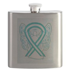 Cervical Cancer Awareness Ribbon Flask