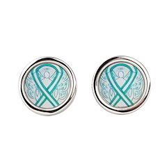 Cervical Cancer Awareness Ribbon Round Cufflinks