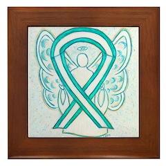 Cervical Cancer Awareness Ribbon Framed Tile