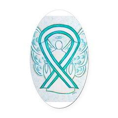 Cervical Cancer Awareness Ribbon Oval Car Magnet