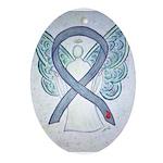Diabetes Awareness Ribbon Angel Ornament (Oval)