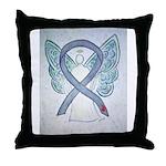 Diabetes Awareness Ribbon Angel Throw Pillow