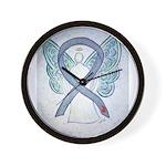 Diabetes Awareness Ribbon Angel Wall Clock