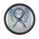 Diabetes Awareness Ribbon Angel Large Wall Clock
