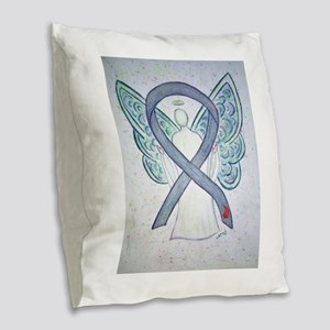 Diabetes Awareness Ribbon Angel Burlap Throw Pillo