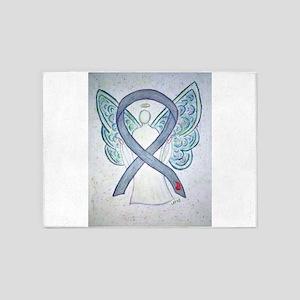 Diabetes Awareness Ribbon Angel 5'x7'Area Rug