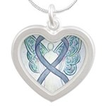 Diabetes Awareness Ribbon Angel Necklaces