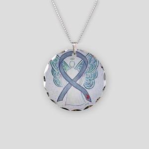 Diabetes Awareness Ribbon Angel Necklace