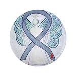 Diabetes Awareness Ribbon Angel Button