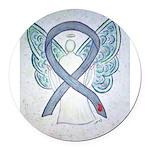 Diabetes Awareness Ribbon Angel Round Car Magnet