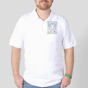 Diabetes Awareness Ribbon Angel Golf Shirt
