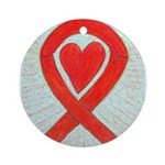 Red Awareness Ribbon Heart Ornament (Round)