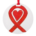 Red Awareness Ribbon Heart Ornament
