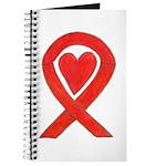 Red Awareness Ribbon Heart Journal