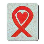 Red Awareness Ribbon Heart Mousepad