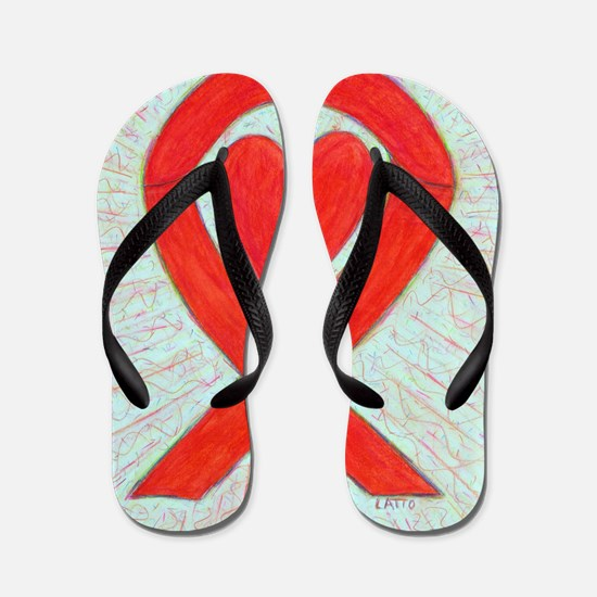 Red Awareness Ribbon Heart Flip Flops