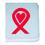 Red Awareness Ribbon Heart baby blanket