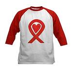 Red Awareness Ribbon Heart Baseball Jersey