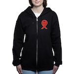 Red Awareness Ribbon Heart Women's Zip Hoodie