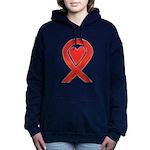 Red Awareness Ribbon Women's Hooded Sweatshirt