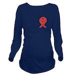 Red Awareness Ribbon Long Sleeve Maternity T-Shirt