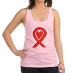 Red Awareness Ribbon Heart Racerback Tank Top