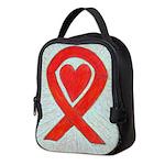 Red Awareness Ribbon Heart Neoprene Lunch Bag