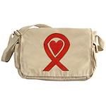 Red Awareness Ribbon Heart Messenger Bag