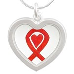 Red Awareness Ribbon Heart Necklaces