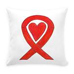 Red Awareness Ribbon Heart Everyday Pillow