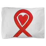 Red Awareness Ribbon Heart Pillow Sham