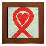 Red Awareness Ribbon Heart Framed Tile