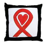 Red Awareness Ribbon Heart Throw Pillow