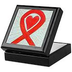Red Awareness Ribbon Heart Keepsake Box