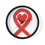 Red Awareness Ribbon Heart Wall Clock